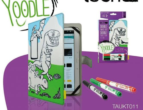 What kid doesn't love dinosaurs? With our doodle-on, wipe-off Yoodle tablet case they can colour in their favourite characters again and again! #tablet #tech #children #kids #colouring #art